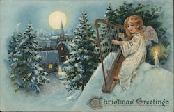 Christmas Greetings - An Angel Playing a Harp in the Snow