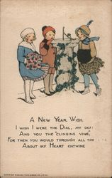 "A New Year Wish.I Wish I were the Dial, My Dear. And you were the ""clinging vine,"" Postcard"