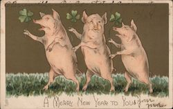 A Merry New Year to You; Three Pigs Standing on Hind Legs and Holding Four Leaf Clovers