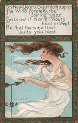 A woman blowing the wind Postcard