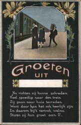 A Woman and Child Waiting for a Train While a Man Carries Their Baggage Postcard