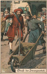 A Man Pushing a Wheelbarrow In the Direction Another Man is Pointing Postcard
