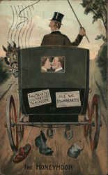 The Honeymoon; Man and Woman in a Carriage, Smiling Stagecoach, Horse Looking Back in Surprise Postcard