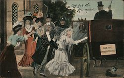Couple Leaving their Wedding in a Carriage Postcard
