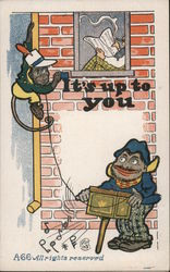 Two Monkeys Painting A House Postcard