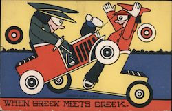 When Greek Meets Greek, Two Men in Motorcars Crashing Into Each Other Postcard