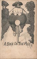 A Bike on the Pike - Woman riding a bike Postcard