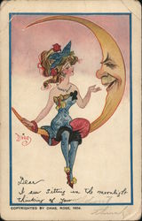 Lady Sitting on the Moon Postcard