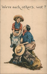 We're Each Other's, Wot? - A Cowboy and Cowgirl Postcard