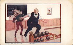 """a strike."" Man bowling. He throws ball back to get momentum before release and hits tray of drinks Postcard"