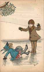 "Pair of children ice skating; one fell - ""Jaux Innocents"" Postcard"