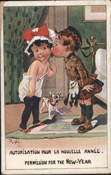 Young Boy in a Kilt Giving Young Girl in a Mob Cap a Kiss on the Cheek for New Year Postcard