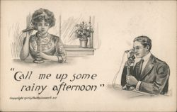 "Old-time man and woman with old-fashioned phones, ""Call me up some rainy afternoon"" Postcard"