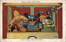 The Little Hayseeds--Their First Trolley Ride Postcard