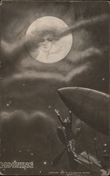 Man in an Airship Reaches for the Lady in the Moon