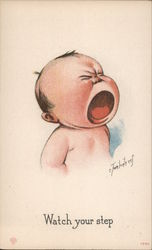 "Cartoon Baby Crying ""Watch Your Step"" Postcard"