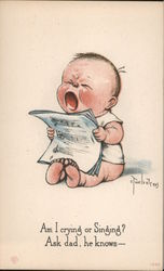 Am I Singing or Crying? Ask Dad , He Knows... A Baby Holding Sheet Music and Crying Postcard