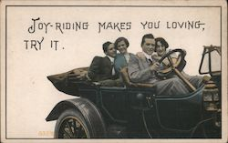 Two Couples in a Car Postcard