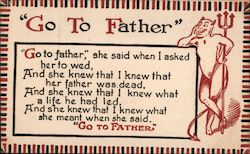 """Go to the father"" with an image of the devil Postcard"