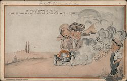 If You Own a Ford, The World Laughs at You or With You - Two Large People in a Small Car Postcard