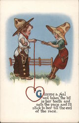 Boy and Girl Dressed as Cowboy/Cowgirl Postcard