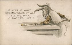 Donkey Playing Pool Postcard