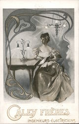 A Woman Sitting at a Table with a Lamp