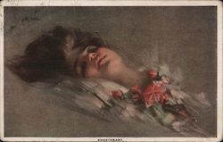 Sweetheart Painting Of Woman With Pink Roses Vintage Postcard