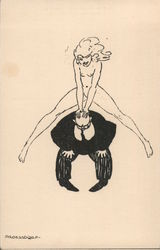 Attractive, naked, woman leap frogging over the back of a plump, bald, man dressed in a suit. Postcard