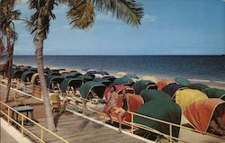 Women, Colorful Canopy Beach Chairs Postcard