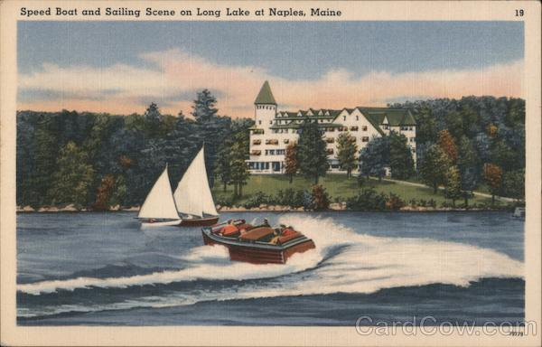 Speed Boat and Sailing Scene on Long Lake Naples Maine