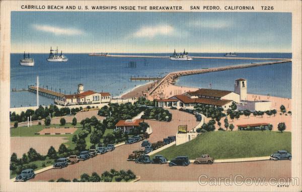 Cabrillo Beach and U.S. Warships Inside the Breakwater San Pedro California