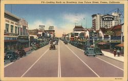 F-6-Looking North on Broadway from Tulare Street, Fresno California Postcard
