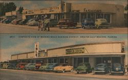 Composite View of Madera Beach Business District, Greater Gulf Beaches Postcard