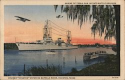 "Cruiser ""Houston"" at the Shrine of Texas, San Jacinto Battle Grounds Postcard"