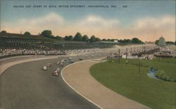 Pacing Lap, Start of Race, Motor Speedway Postcard