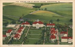 Airplane View of Madison College Postcard