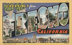 Greetings from Fresno California Postcard