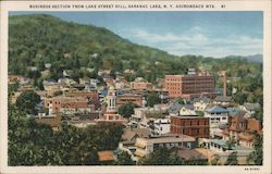 Business Section from Lake Street Hill Postcard