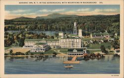 Saranac Inn, N.Y. in the Adirondacks, with Mountains in Background Postcard