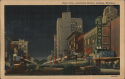 Night View of Business Section Postcard