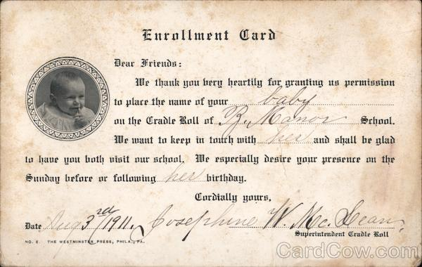 Enrollment card for baby On Cradle Roll Glenmoore Pennsylvania