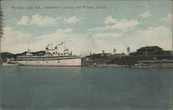 Steamboat Landing and Railway Station Postcard