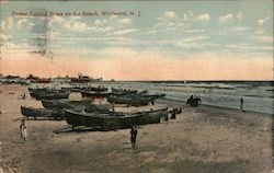 Power Fishing Boats on the Beach Postcard