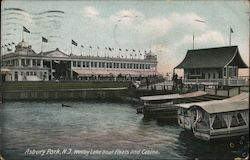 Wesley Lake Boat Floats and Casino Postcard