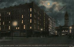 The Oxford Hotel and New Annex, The Welcome Arch and Union Depot at Night