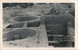 Ruins With Kivas at Left, View Facing West Postcard