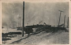 Horse drawn wagon crossing bridge in winter. Encyclopedia of poultry Advert