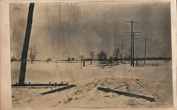 Power lines down along snow packed road. Penn Mutual Life Insurance Card Postcard