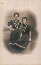 Studio Portrait of two young ladies Postcard